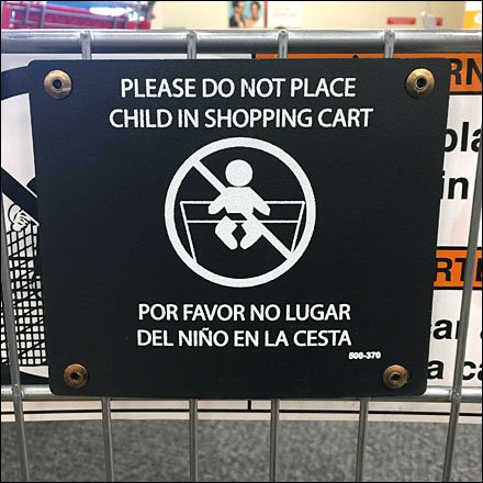 Do Not Place Child in Shopping Cart
