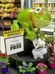 Frog Inflatable Tends Plant Merchandising Display