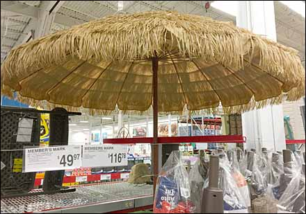 Thatched Hula Beach Umbrella Display