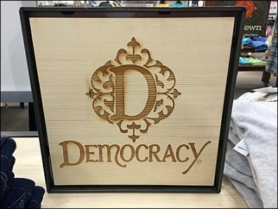Democracy Logo Wood Burn 1
