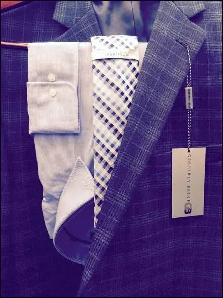 Geoffrey Beene Suit Shirt Tie Cross Sell Closeup