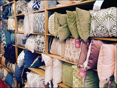 Pier 1 Perimeter Pillow Wall Display