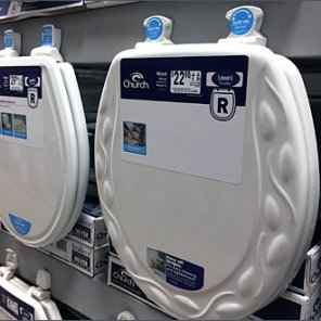Lowes Mass Merchandising Toilet Seats on Pallet Rack