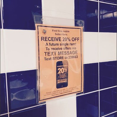 Text from Restroom Merits a Discount