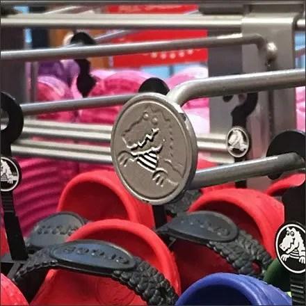 Crocs Retail Merchandising Fixtures - Vertical Loop Hook Finial Branding by Crocs®