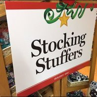Stocking Stuffers Sign Revisited CloseUp
