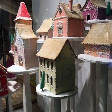 Anthropologie Christmas Village on Pedestals 2
