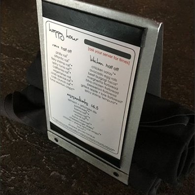 Galvanized Happy Hour Menu Holder