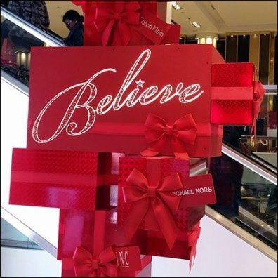 Macys Multi-Story Believe CloseUp