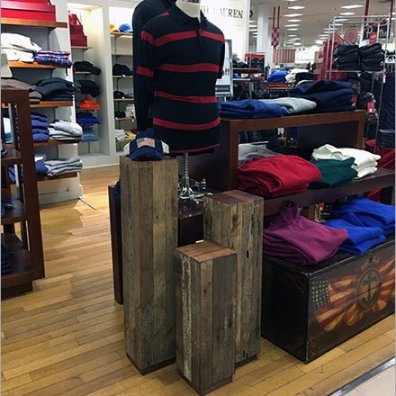 Wood Slat Pedestals at Polo Ralph Lauren
