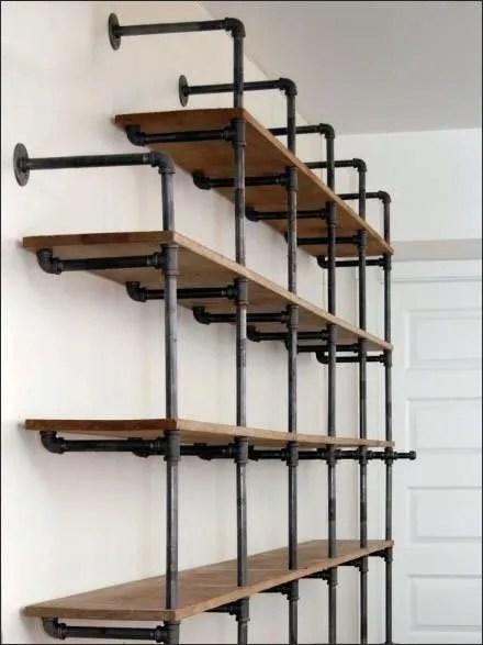 Do-It-Yourself Cast Iron Pipe Shelving Shelf Display CloseUp Main