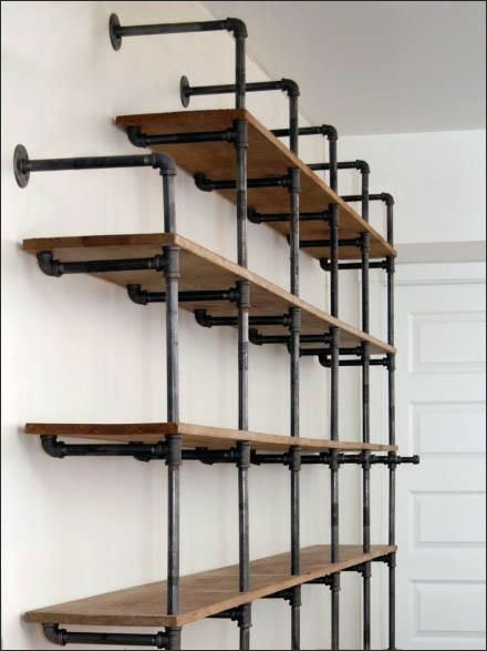 Do-It-Yourself Cast Iron Pipe Shelving Shelf Display CloseUp Main