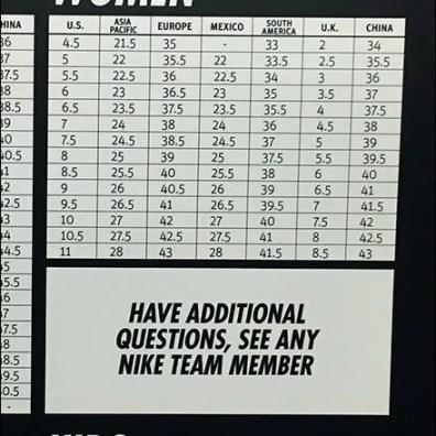 Nike In-Store International Sizing Chart