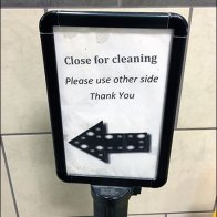 Close For Cleaning Wet Floor Sign Closeup