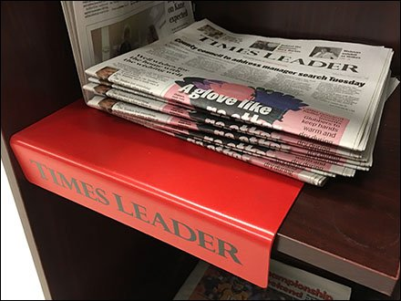 Times Leader Branded Plastic Shelf Overlay Angle