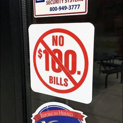 Dunkin Donuts No $100 Bills Closeup