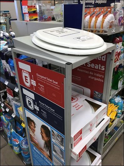 Toilet Seat Display at Cashwrap