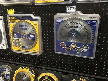 Up-Scale Circular Saw Blade Merchandising