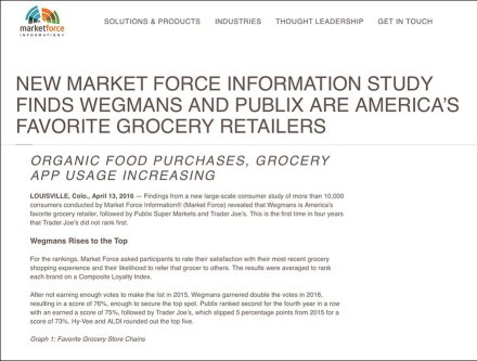 Outfitting America's Favorite Grocer - MarketForce Grocery Study Web Page