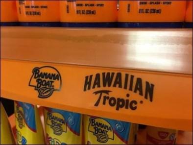 Hawaiian Tropic Banana Boat Display Label Strip 2