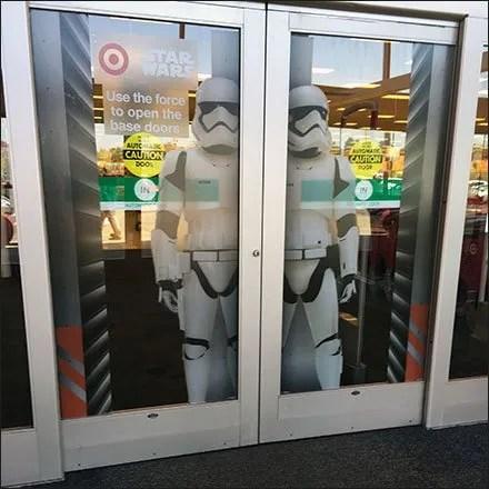 Star Wars Trooper Door Cling Display Square & Use The Star Wars® Force to Open Retail Store Doors \u2013 Fixtures ...