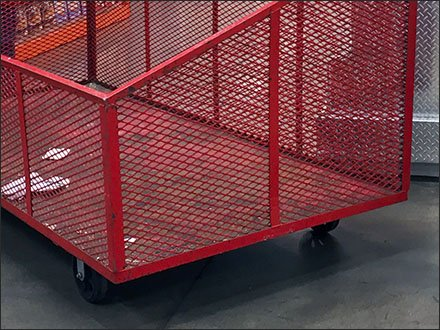 Mobile Expanded Metal Bulk Bin for Warehouse Club