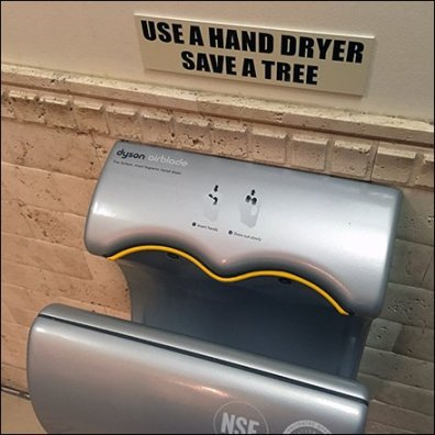 Restroom Hand Dryer Save A Tree Sign Feature