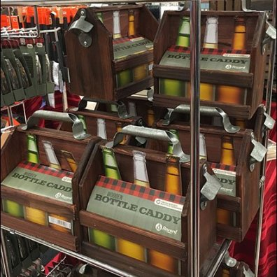Wood 6-Pack Bottle Carry Merchandising 1