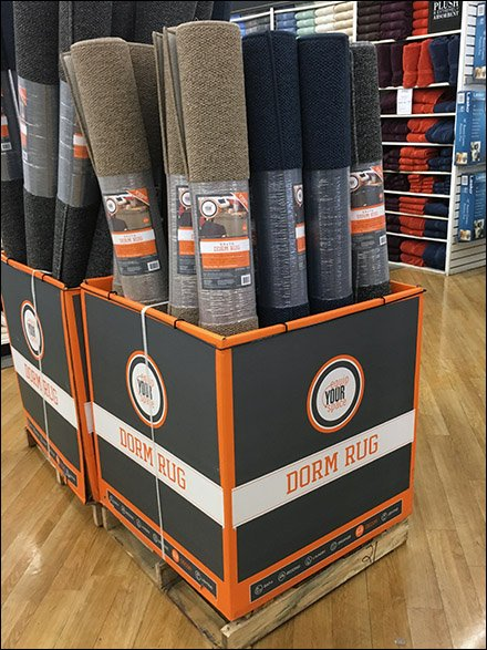 Equip Your Personal Space Dorm Rug Pallet Display