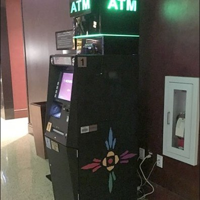 Casino ATM Dramatically Branded In Money Green Neon