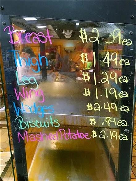 Fried Chicken-Parts Priced Each Handwritten