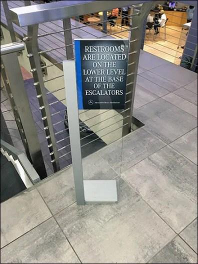 Mercedes Benz Manhattan C-Channel Restroom Navigation Sign 4