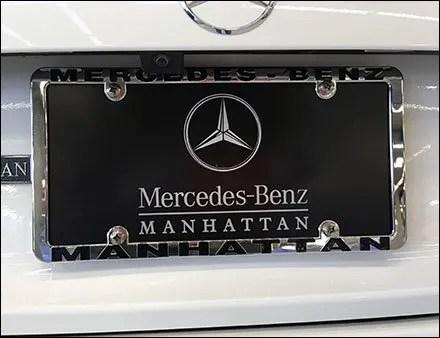 Mercedes benz manhattan branded license plate frame for Mercedes benz number plate holder