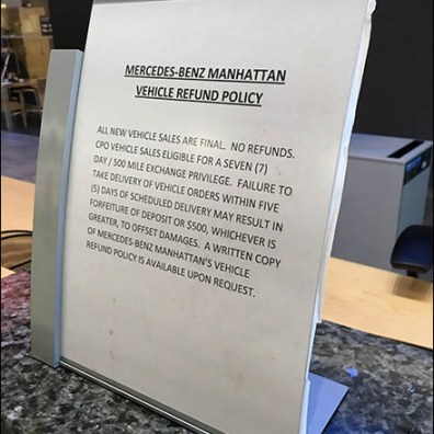 Mercedes Benz Manhattan Return Policy Main
