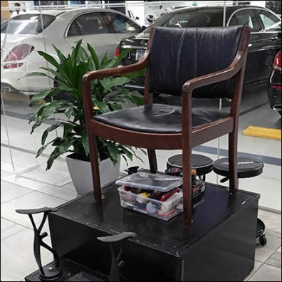 Get A Quick Shoe-Shine At Mercedes-Benz Shoe Shine Stand