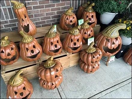 Wood-Crate Bleacher of Terracotta Halloween Pumpkins