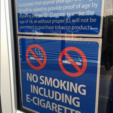 No Smoking … Including No Vaping In-Store