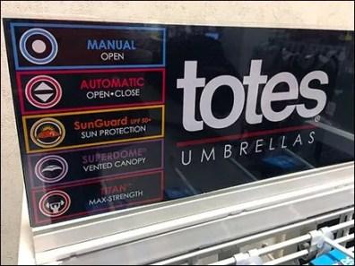 Totes® Umbrella Stand Color-Coded Menu