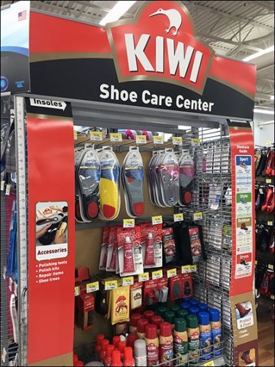 Kiwi Endcap Comprehensive Shoe Care Center