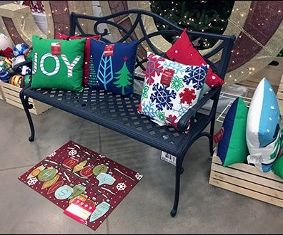 Joyful Park Bench Propped Pillow Promotion