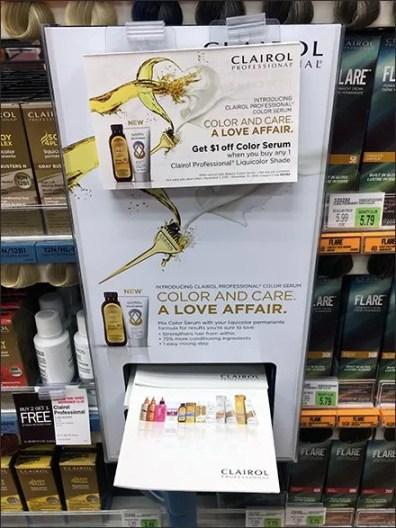 Clairol Pull-Out Brochure Dispenser At Shelf Edge