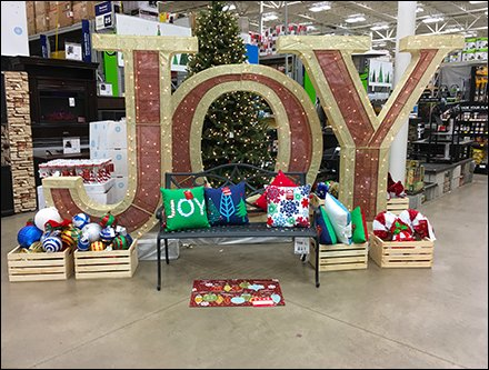 Giant Joy Christmas Greeting at Store Entry
