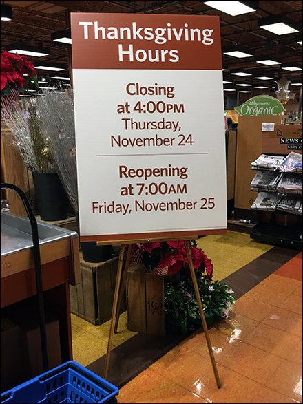 Long Holiday Retail Hours For Thanksgiving at Wegmans