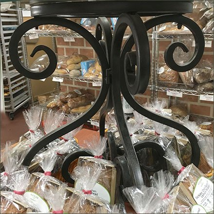 Wrought Iron Retail Fixtures - Sickles Oatmeal Cookie Wrought Iron Pedestal