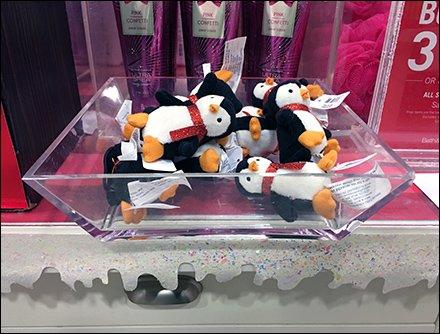 Selling Penguins Plush By Acrylic Tray