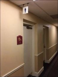 Ceiling Hung Hotel Restroom Sign Backup