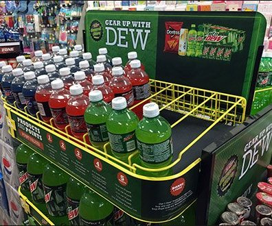 Logo Branded Fixtures - Gear Up With Mtn Dew Gravity Feed Island