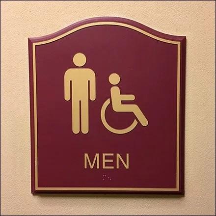 Men's Humpback Hotel Restroom Sign Plaques include Handicapped