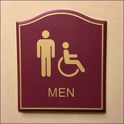 Humpback Men & Handicapped Restroom Sign Plaque