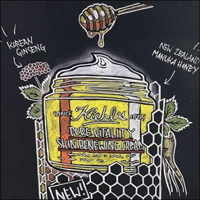 Kiehls Easel Promotes Youthful Vitality Chalkboard Illustration